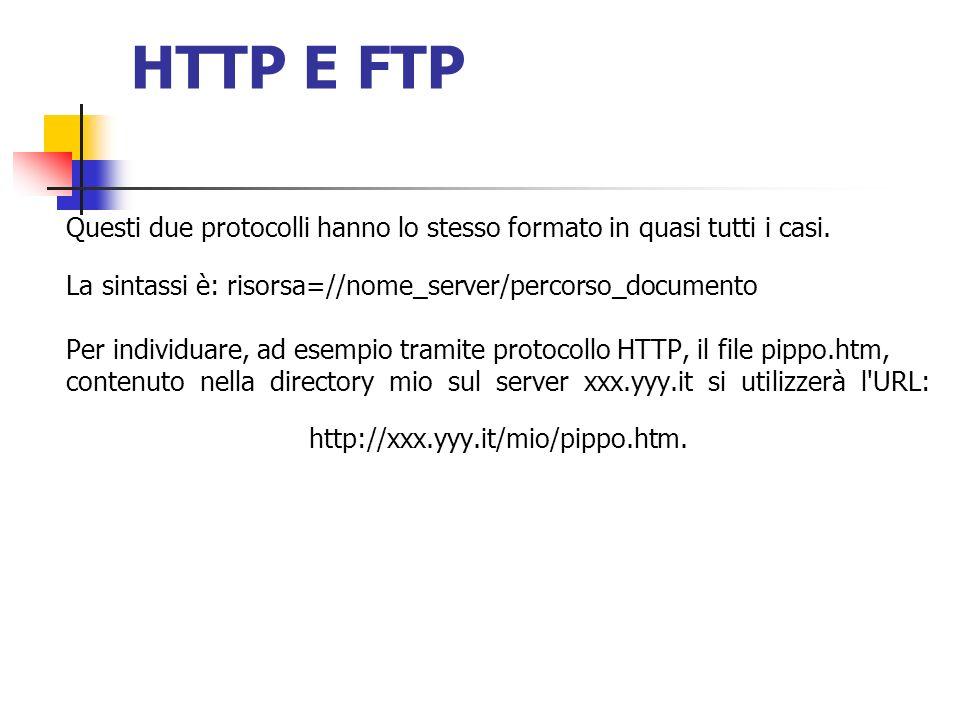 HTTP E FTP Questi due protocolli hanno lo stesso formato in quasi tutti i casi. La sintassi è: risorsa=//nome_server/percorso_documento Per individuar