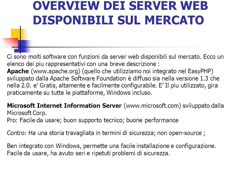 OVERVIEW DEI SERVER WEB DISPONIBILI SUL MERCATO Ci sono molti software con funzioni da server web disponibili sul mercato. Ecco un elenco dei piu rapp
