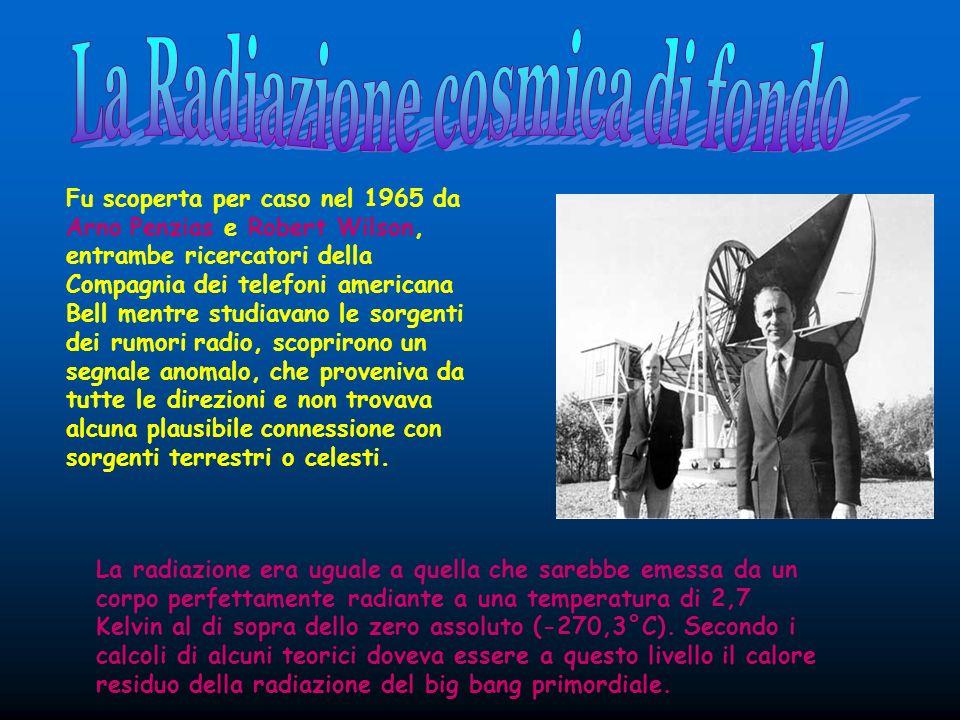 Fu scoperta per caso nel 1965 da Arno Penzias e Robert Wilson, entrambe ricercatori della Compagnia dei telefoni americana Bell mentre studiavano le s