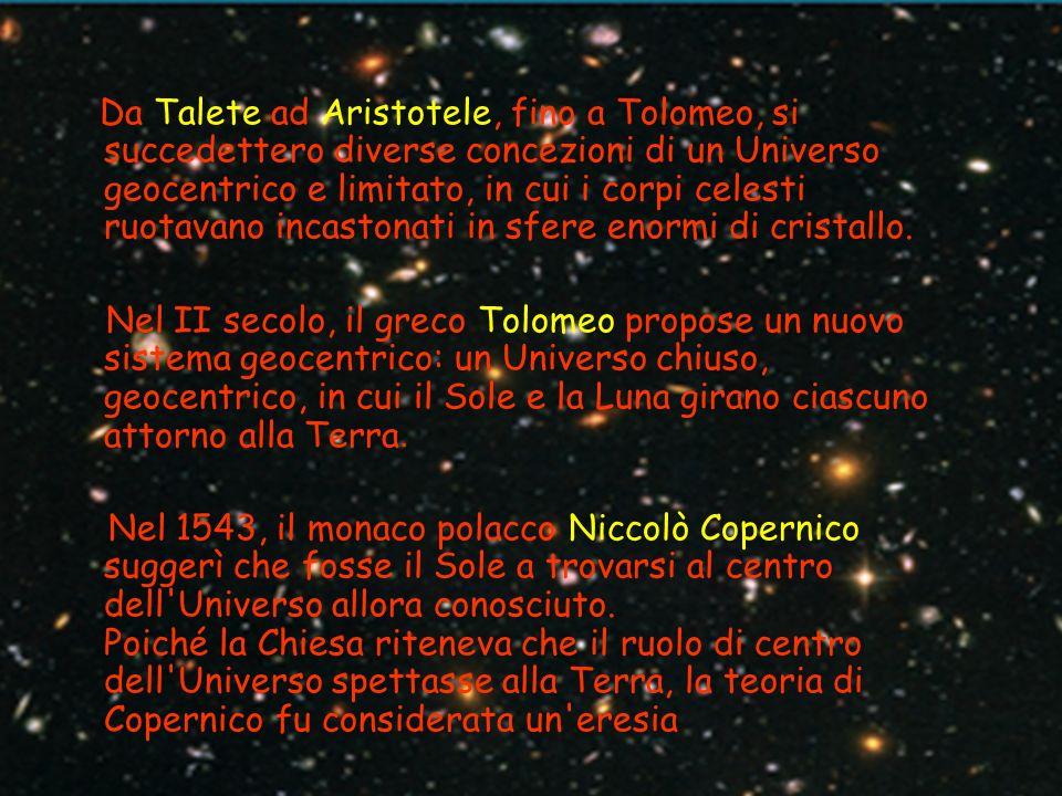 Da Talete ad Aristotele, fino a Tolomeo, si succedettero diverse concezioni di un Universo geocentrico e limitato, in cui i corpi celesti ruotavano in