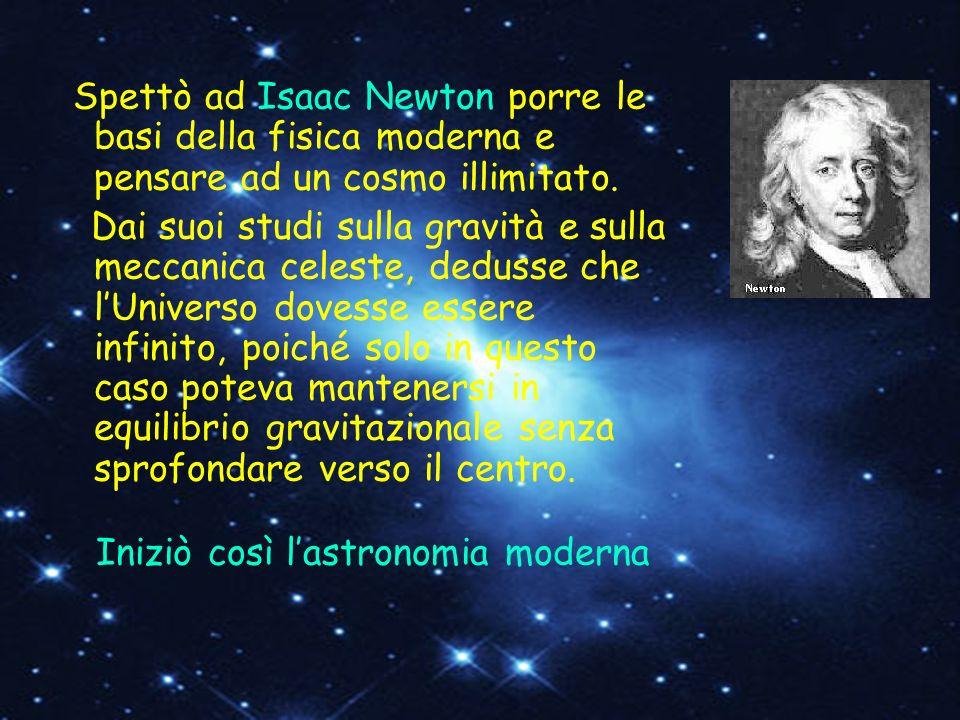 Spettò ad Isaac Newton porre le basi della fisica moderna e pensare ad un cosmo illimitato. Dai suoi studi sulla gravità e sulla meccanica celeste, de