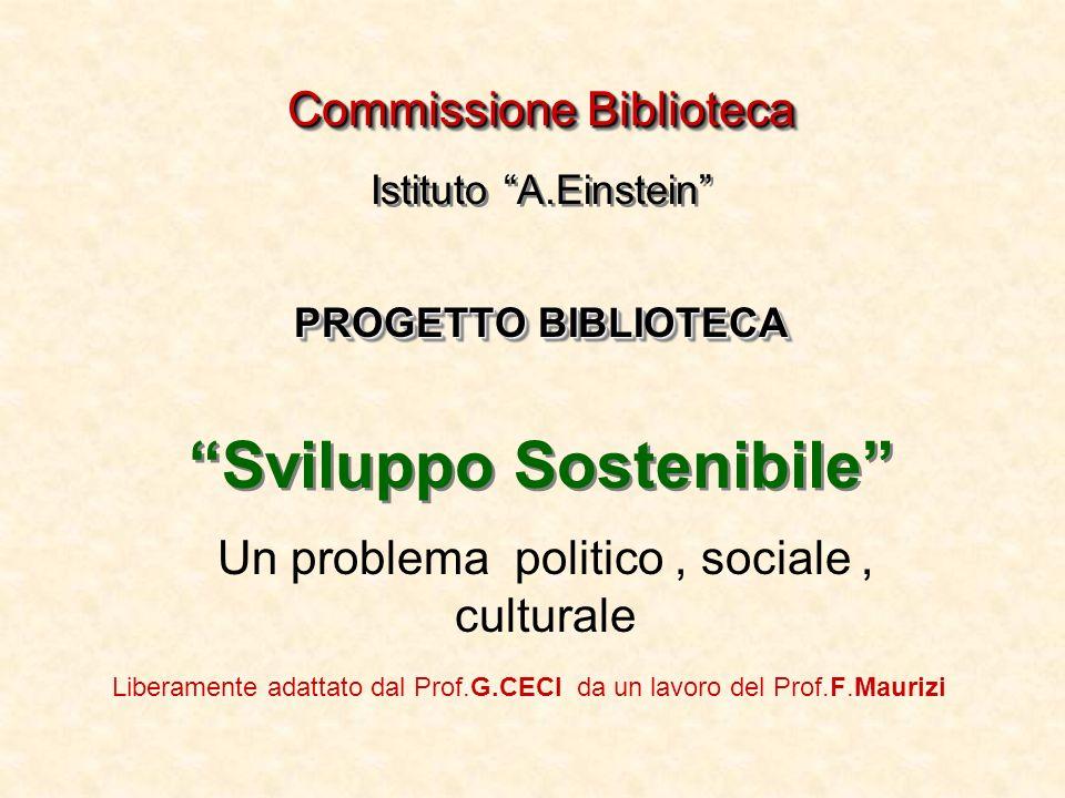 Commissione Biblioteca PROGETTO BIBLIOTECA Commissione Biblioteca Istituto A.Einstein PROGETTO BIBLIOTECA Sviluppo Sostenibile Un problema politico, s