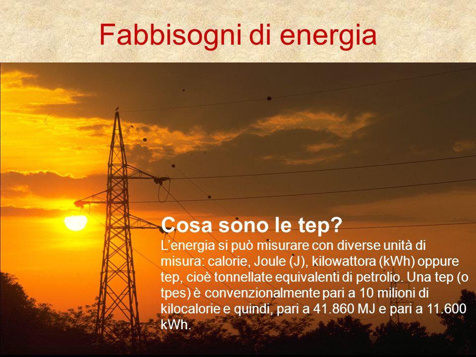Fabbisogni di energia Cosa sono le tep? Lenergia si può misurare con diverse unità di misura: calorie, Joule (J), kilowattora (kWh) oppure tep, cioè t