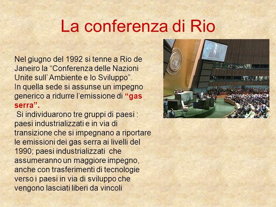 La conferenza di Rio Nel giugno del 1992 si tenne a Rio de Janeiro la Conferenza delle Nazioni Unite sull Ambiente e lo Sviluppo. In quella sede si as