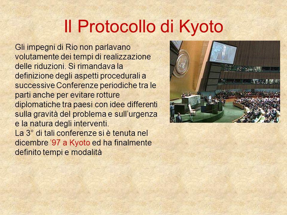Il Protocollo di Kyoto Gli impegni di Rio non parlavano volutamente dei tempi di realizzazione delle riduzioni. Si rimandava la definizione degli aspe