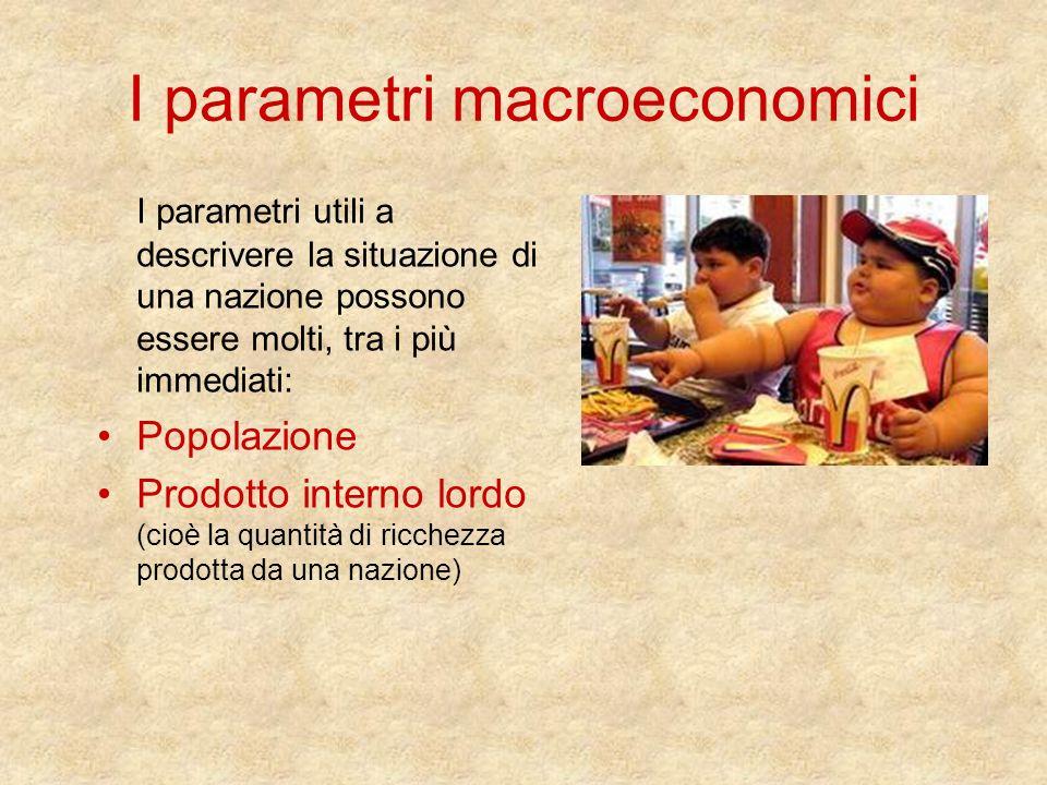 I parametri macroeconomici I parametri utili a descrivere la situazione di una nazione possono essere molti, tra i più immediati: Popolazione Prodotto