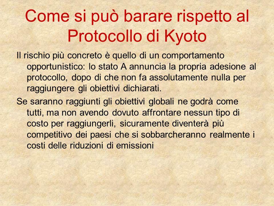 Come si può barare rispetto al Protocollo di Kyoto Il rischio più concreto è quello di un comportamento opportunistico: lo stato A annuncia la propria