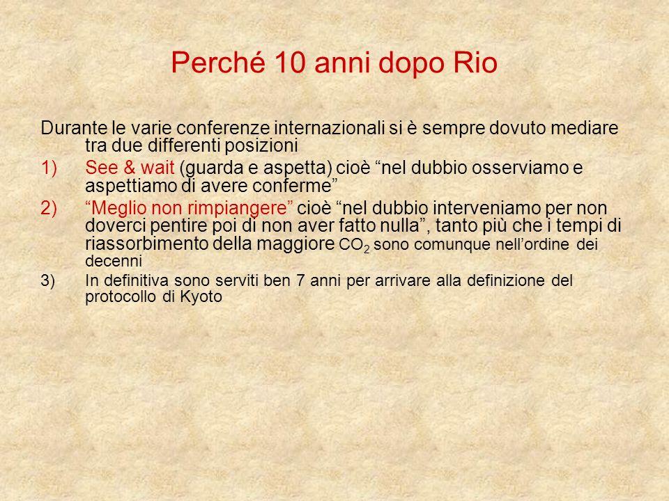 Perché 10 anni dopo Rio Durante le varie conferenze internazionali si è sempre dovuto mediare tra due differenti posizioni 1)See & wait (guarda e aspe
