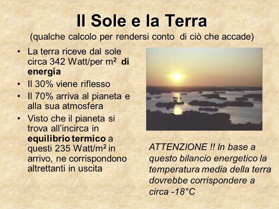 Il Sole e la Terra Il Sole e la Terra (qualche calcolo per rendersi conto di ciò che accade) La terra riceve dal sole circa 342 Watt/per m 2 di energi