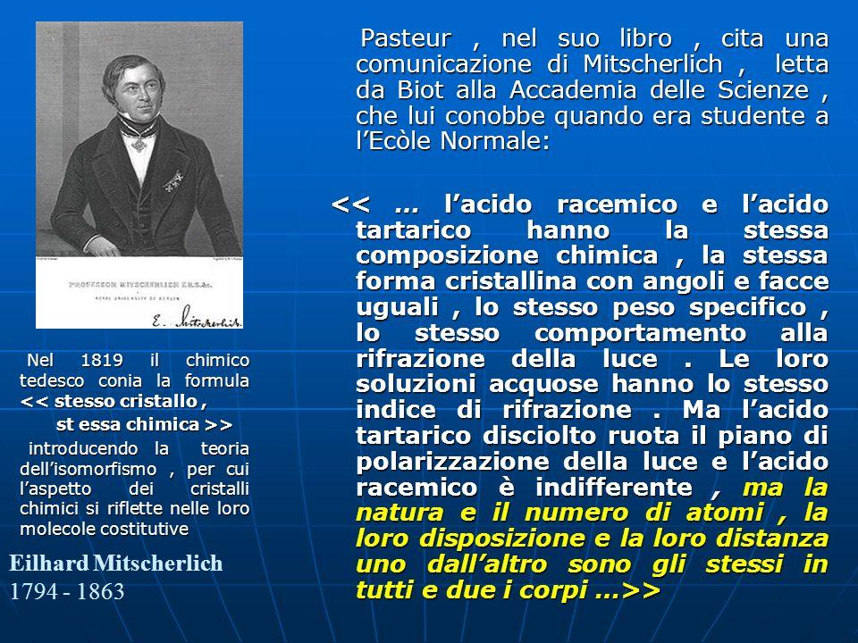 Pasteur, nel suo libro, cita una comunicazione di Mitscherlich, letta da Biot alla Accademia delle Scienze, che lui conobbe quando era studente a lEcò