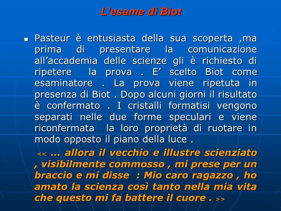 Lesame di Biot Pasteur è entusiasta della sua scoperta,ma prima di presentare la comunicazione allaccademia delle scienze gli è richiesto di ripetere
