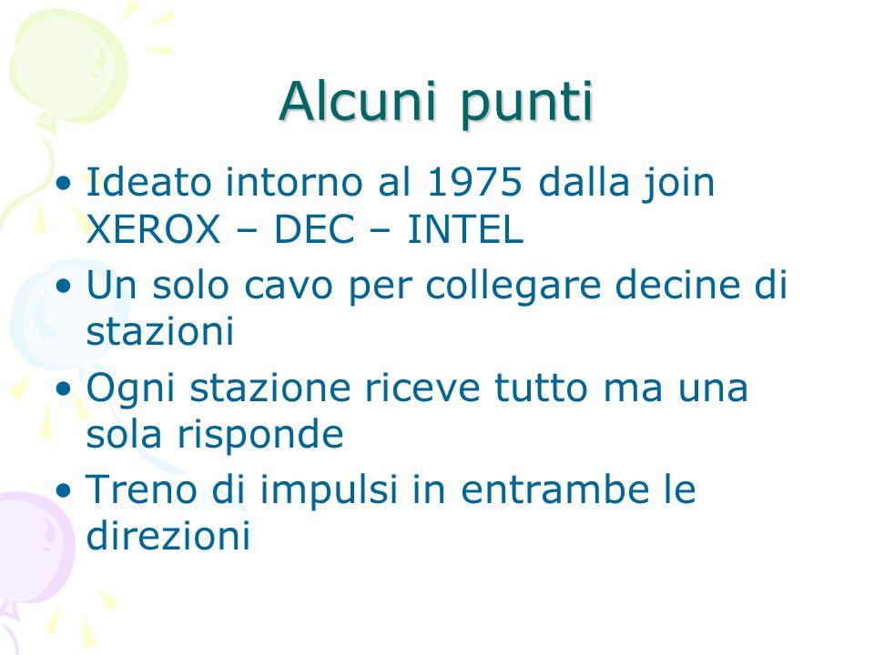 Alcuni punti Ideato intorno al 1975 dalla join XEROX – DEC – INTEL Un solo cavo per collegare decine di stazioni Ogni stazione riceve tutto ma una sol