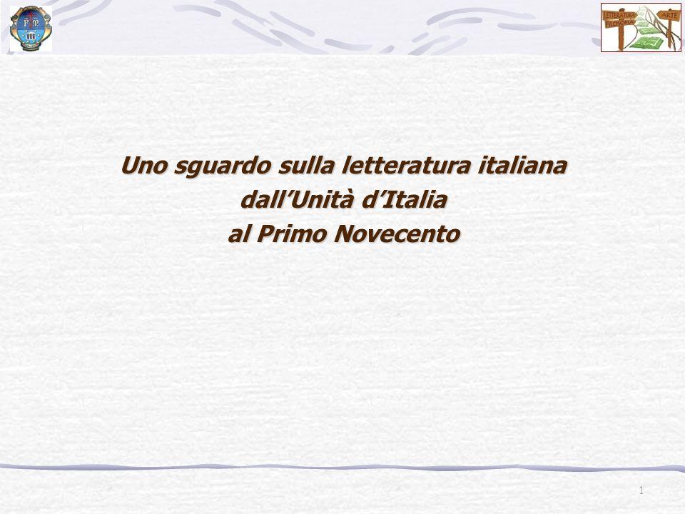 POSITIVISMO Seconda metà dellOttocento Scapigliatura Decadentismo Giovanni Pascoli (1855-1912) Gabriele DAnnunzio (1863-1938) Naturalismo Verismo Giovanni Verga (1840-1922)