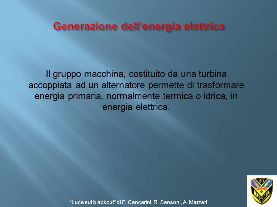 Il gruppo macchina, costituito da una turbina accoppiata ad un alternatore permette di trasformare energia primaria, normalmente termica o idrica, in