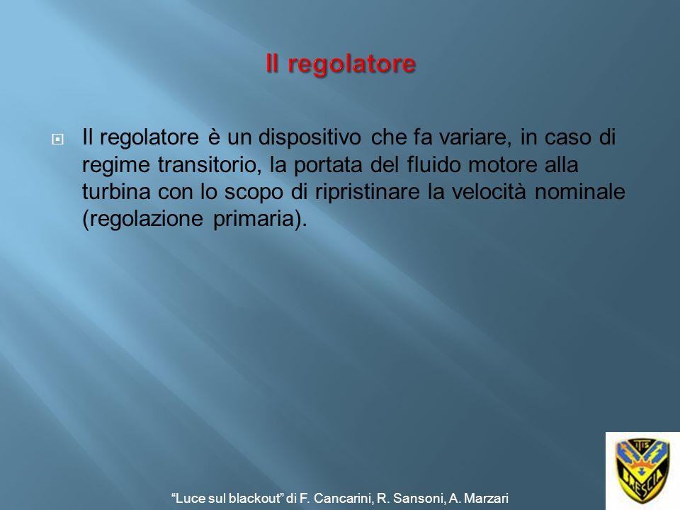 Il regolatore è un dispositivo che fa variare, in caso di regime transitorio, la portata del fluido motore alla turbina con lo scopo di ripristinare l