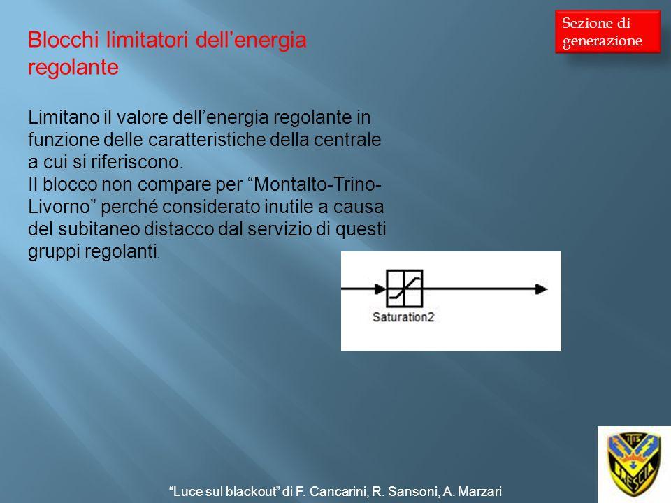 Blocchi limitatori dellenergia regolante Limitano il valore dellenergia regolante in funzione delle caratteristiche della centrale a cui si riferiscon