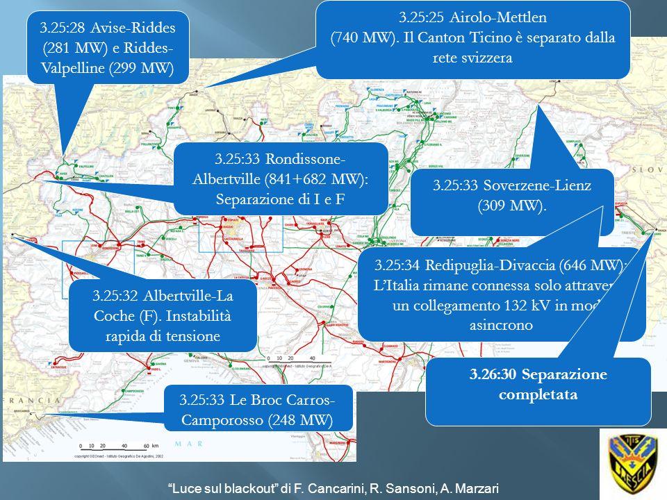 3.25:25 Airolo-Mettlen (740 MW). Il Canton Ticino è separato dalla rete svizzera 3.25:33 Soverzene-Lienz (309 MW). 3.25:33 Rondissone- Albertville (84