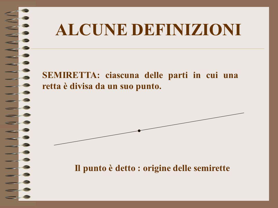 ALCUNE DEFINIZIONI SEMIRETTA: ciascuna delle parti in cui una retta è divisa da un suo punto. Il punto è detto : origine delle semirette