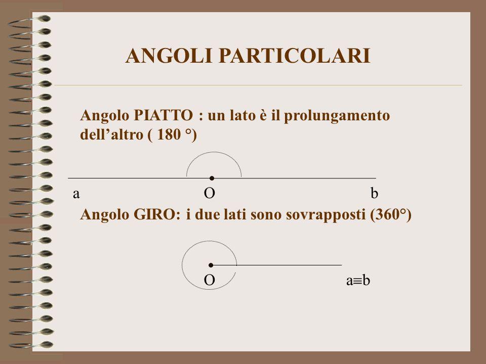 Angolo PIATTO : un lato è il prolungamento dellaltro ( 180 °) Angolo GIRO: i due lati sono sovrapposti (360°) ANGOLI PARTICOLARI O O ab a b