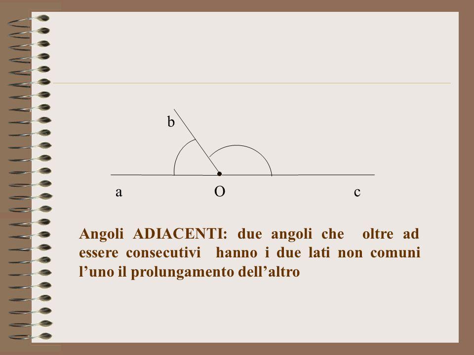 Angoli ADIACENTI: due angoli che oltre ad essere consecutivi hanno i due lati non comuni luno il prolungamento dellaltro Oa b c