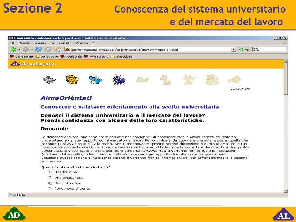 Sezione 2 Conoscenza del sistema universitario e del mercato del lavoro