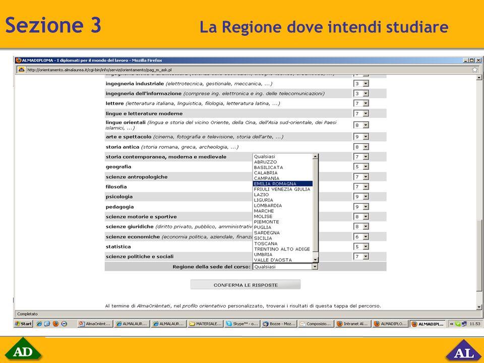 Sezione 3 La Regione dove intendi studiare