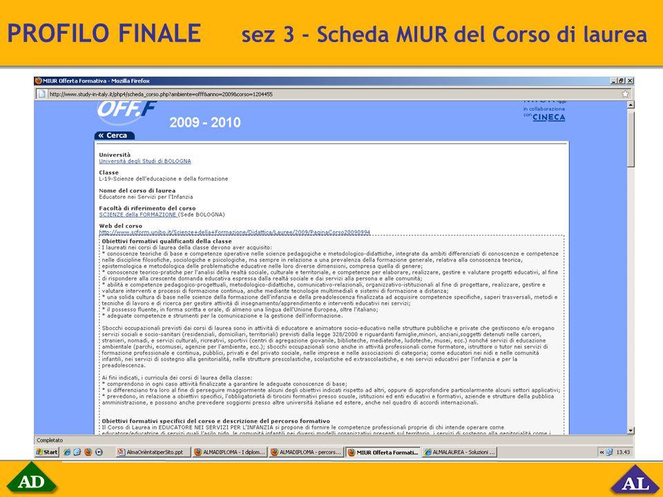 PROFILO FINALE sez 3 - Scheda MIUR del Corso di laurea