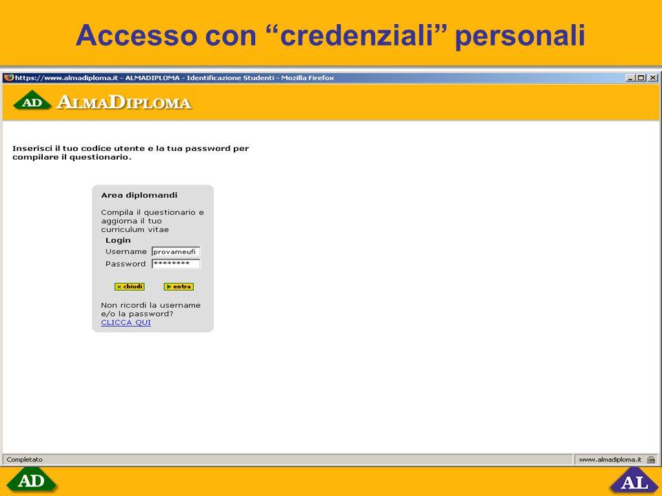 Accesso con credenziali personali