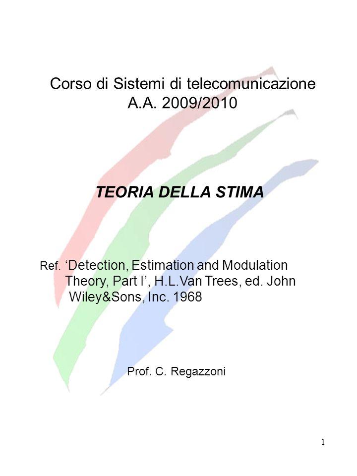 1 Corso di Sistemi di telecomunicazione A.A. 2009/2010 TEORIA DELLA STIMA Ref. Detection, Estimation and Modulation Theory, Part I, H.L.Van Trees, ed.