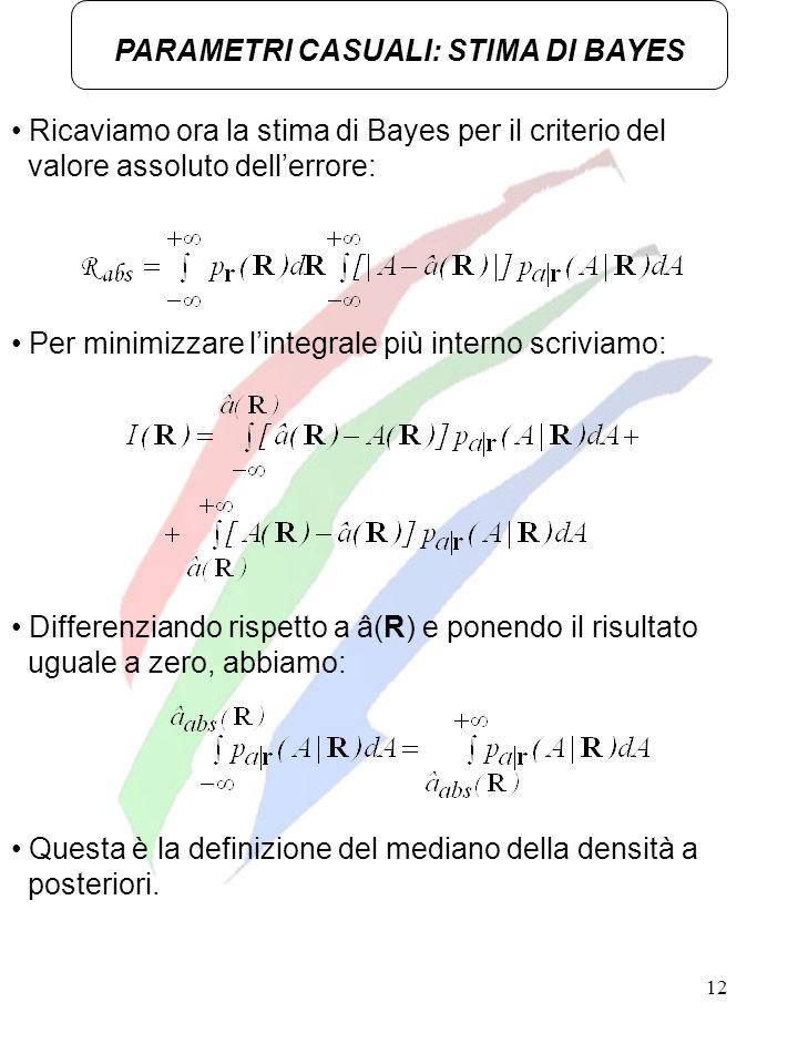 12 Ricaviamo ora la stima di Bayes per il criterio del valore assoluto dellerrore: PARAMETRI CASUALI: STIMA DI BAYES Per minimizzare lintegrale più in