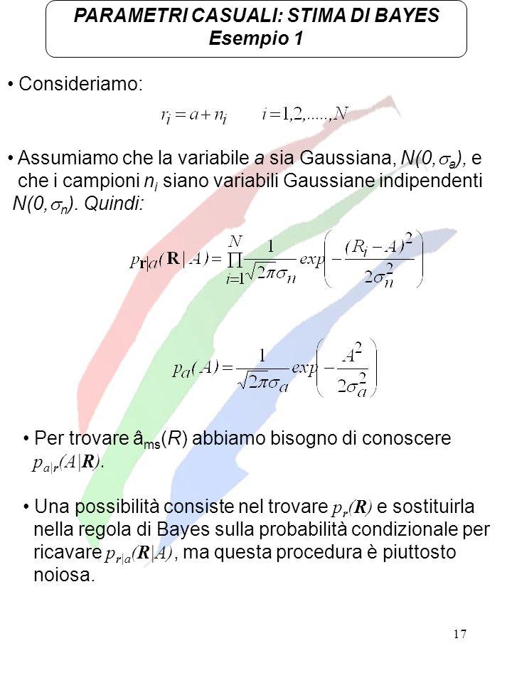 17 Consideriamo: PARAMETRI CASUALI: STIMA DI BAYES Esempio 1 Assumiamo che la variabile a sia Gaussiana, N(0, a ), e che i campioni n i siano variabil