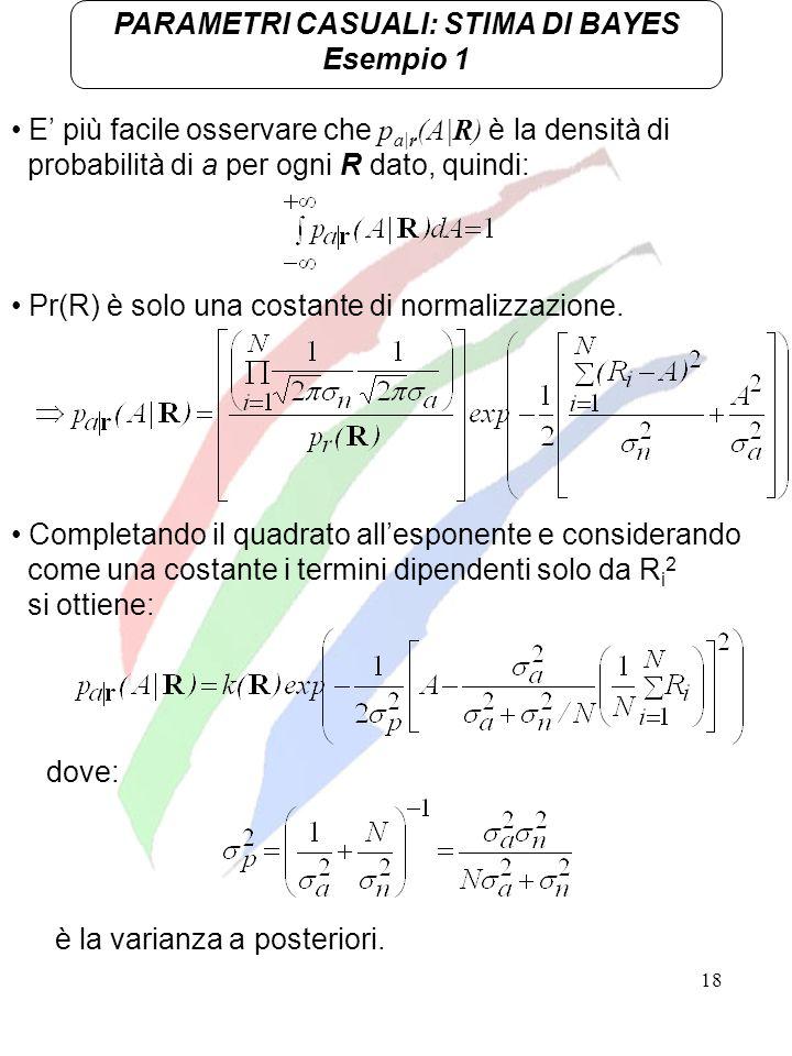 18 E più facile osservare che p a|r (A|R) è la densità di probabilità di a per ogni R dato, quindi: PARAMETRI CASUALI: STIMA DI BAYES Esempio 1 Comple