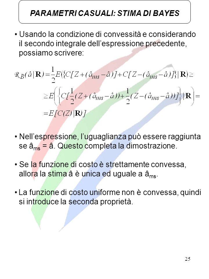 25 PARAMETRI CASUALI: STIMA DI BAYES Usando la condizione di convessità e considerando il secondo integrale dellespressione precedente, possiamo scriv