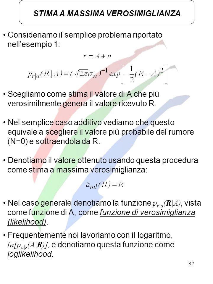 37 STIMA A MASSIMA VEROSIMIGLIANZA Consideriamo il semplice problema riportato nellesempio 1: Scegliamo come stima il valore di A che più verosimilmen