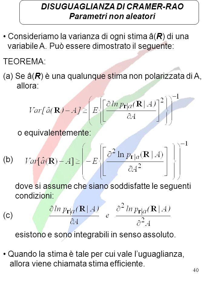 40 DISUGUAGLIANZA DI CRAMER-RAO Parametri non aleatori Consideriamo la varianza di ogni stima â(R) di una variabile A. Può essere dimostrato il seguen