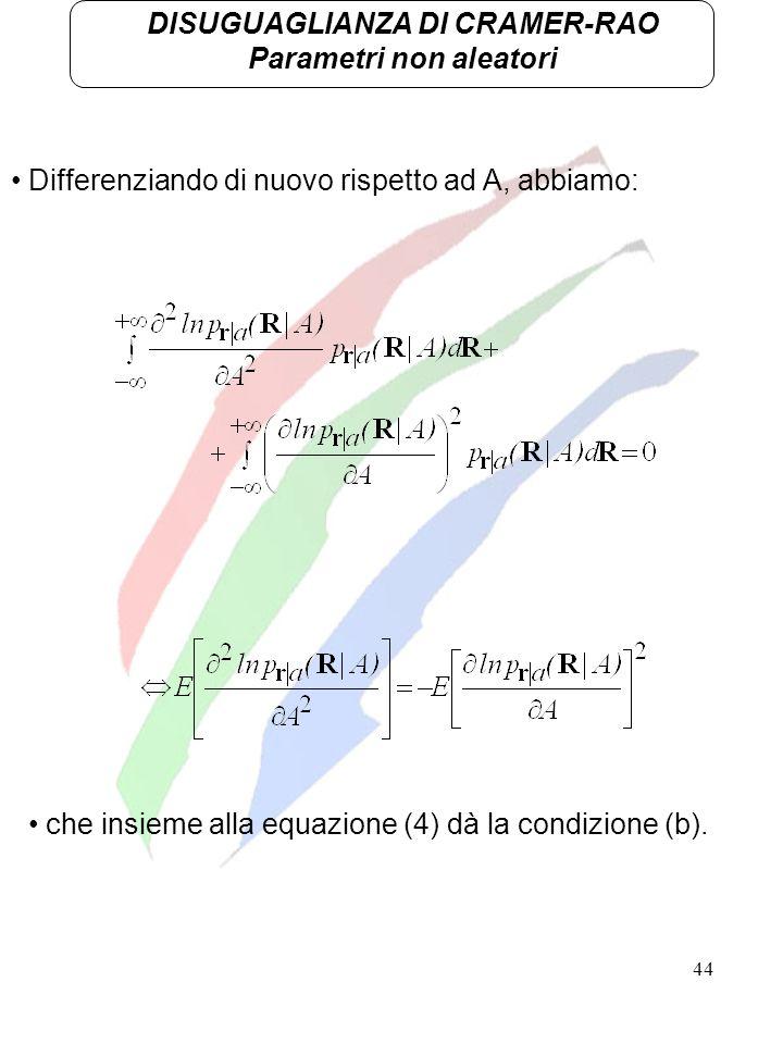 44 DISUGUAGLIANZA DI CRAMER-RAO Parametri non aleatori Differenziando di nuovo rispetto ad A, abbiamo: che insieme alla equazione (4) dà la condizione