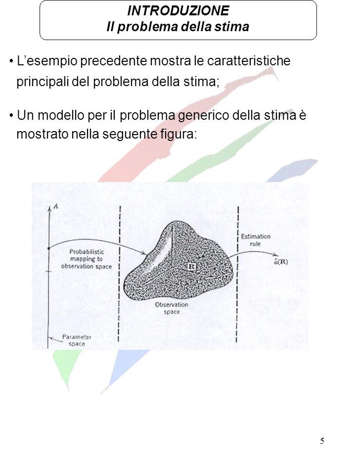 5 INTRODUZIONE Il problema della stima Lesempio precedente mostra le caratteristiche principali del problema della stima; Un modello per il problema g