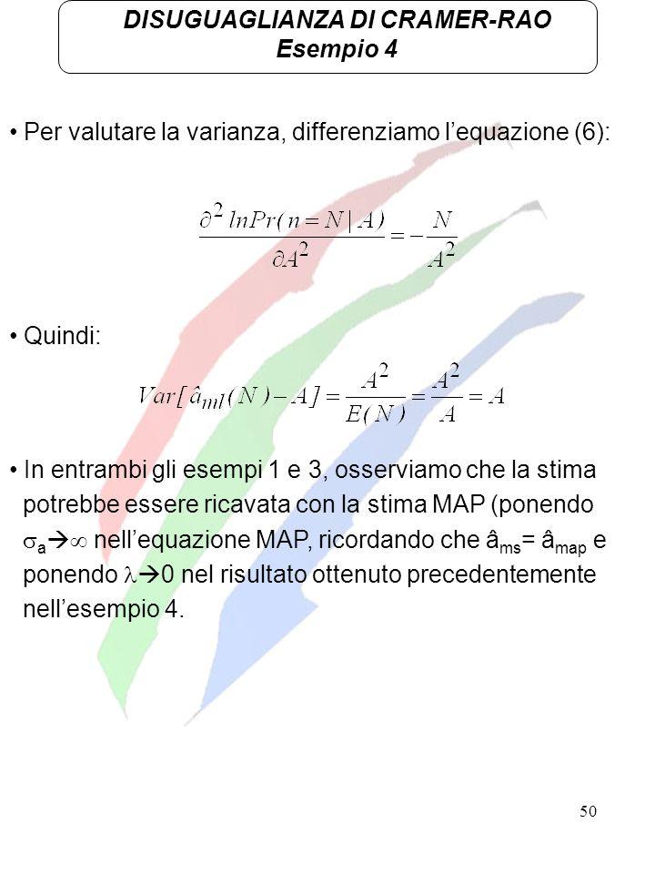 50 DISUGUAGLIANZA DI CRAMER-RAO Esempio 4 Per valutare la varianza, differenziamo lequazione (6): Quindi: In entrambi gli esempi 1 e 3, osserviamo che