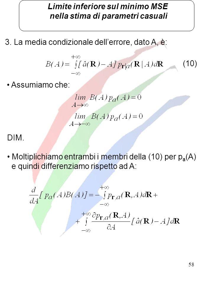 58 Limite inferiore sul minimo MSE nella stima di parametri casuali 3. La media condizionale dellerrore, dato A, è: Assumiamo che: (10) DIM. Moltiplic