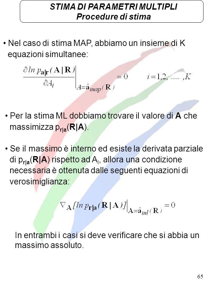 65 STIMA DI PARAMETRI MULTIPLI Procedure di stima Nel caso di stima MAP, abbiamo un insieme di K equazioni simultanee: Per la stima ML dobbiamo trovar