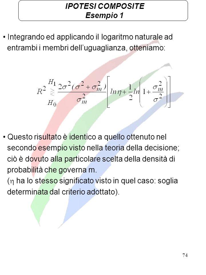 74 IPOTESI COMPOSITE Esempio 1 Integrando ed applicando il logaritmo naturale ad entrambi i membri delluguaglianza, otteniamo: Questo risultato è iden