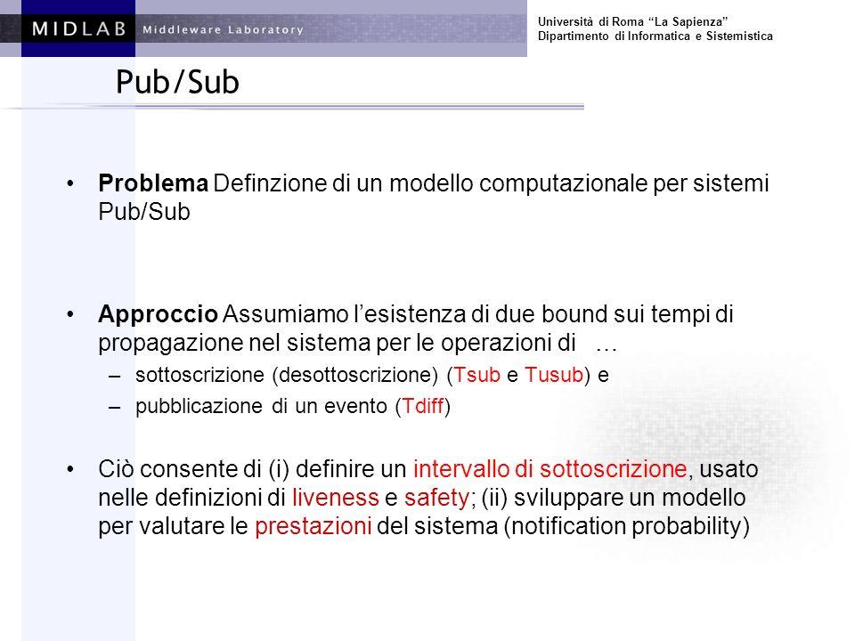 Pub/Sub Problema Definzione di un modello computazionale per sistemi Pub/Sub Approccio Assumiamo lesistenza di due bound sui tempi di propagazione nel sistema per le operazioni di … –sottoscrizione (desottoscrizione) (Tsub e Tusub) e –pubblicazione di un evento (Tdiff) Ciò consente di (i) definire un intervallo di sottoscrizione, usato nelle definizioni di liveness e safety; (ii) sviluppare un modello per valutare le prestazioni del sistema (notification probability)