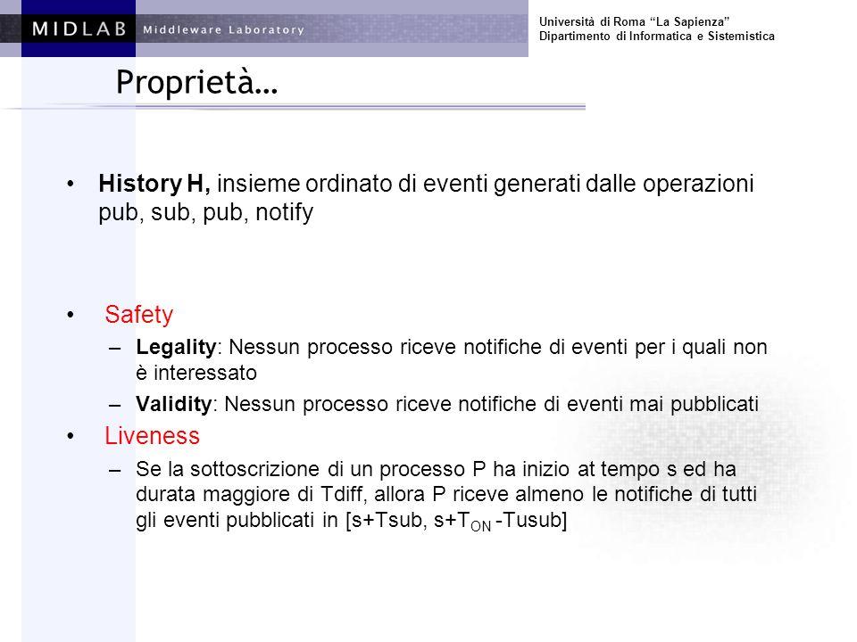 Università di Roma La Sapienza Dipartimento di Informatica e Sistemistica Proprietà… History H, insieme ordinato di eventi generati dalle operazioni p