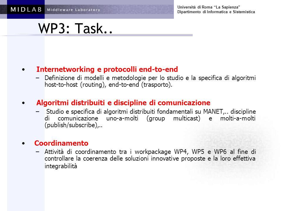 Università di Roma La Sapienza Dipartimento di Informatica e Sistemistica WP3: Task.. Internetworking e protocolli end-to-end –Definizione di modelli