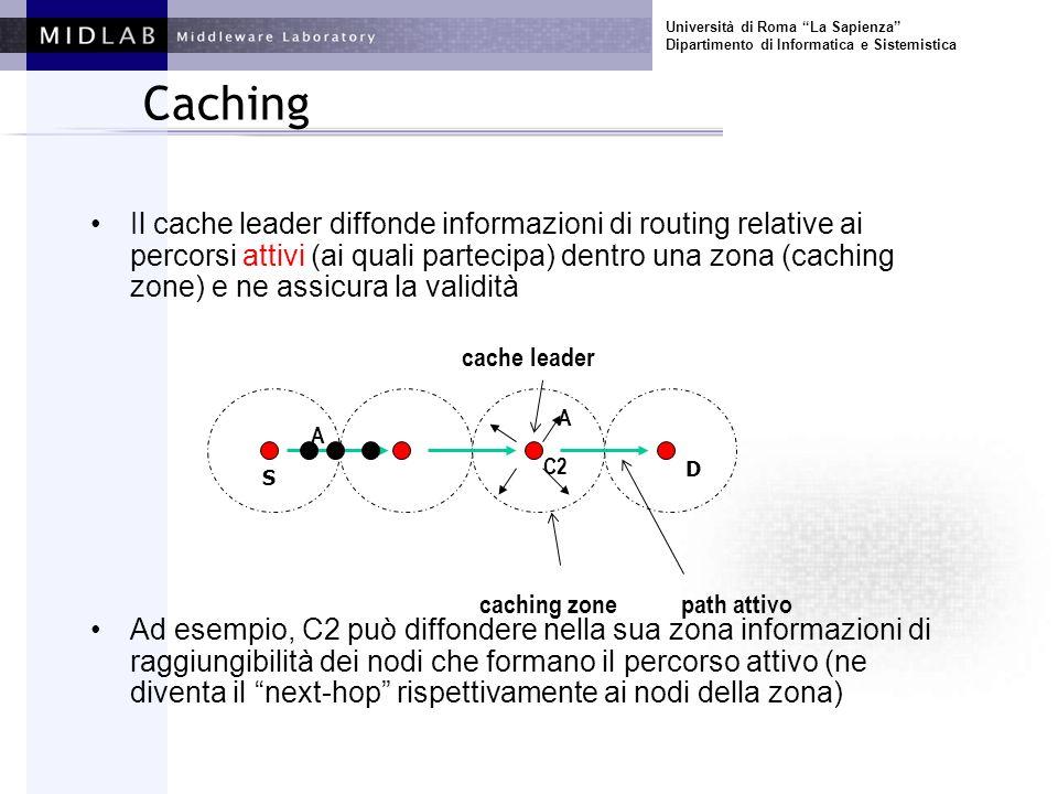 Università di Roma La Sapienza Dipartimento di Informatica e Sistemistica Caching Il cache leader diffonde informazioni di routing relative ai percors