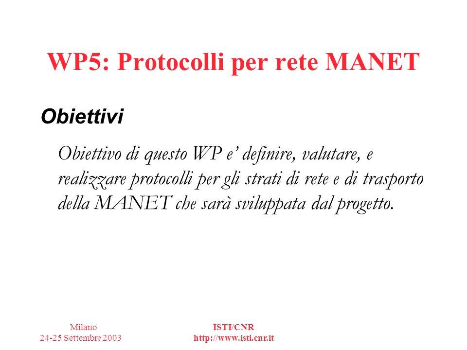 Milano 24-25 Settembre 2003 ISTI/CNR http://www.isti.cnr.it WP5: Strutturazione in task T1Sperimentazione di una MANET single hop IEEE802.11 T2Definizione e realizzazione di una rete MANET semplificata T3Analisi dei protocolli di rete algoritmi di configurazione della rete e di routing, valutazione delle prestazioni tramite simulazione T4 Protocolli end-to-end valutazione e confronto dei protocolli basati su TCP su MANET T5 Definizione e realizzazione della MANET T6 Sperimentazione della MANET