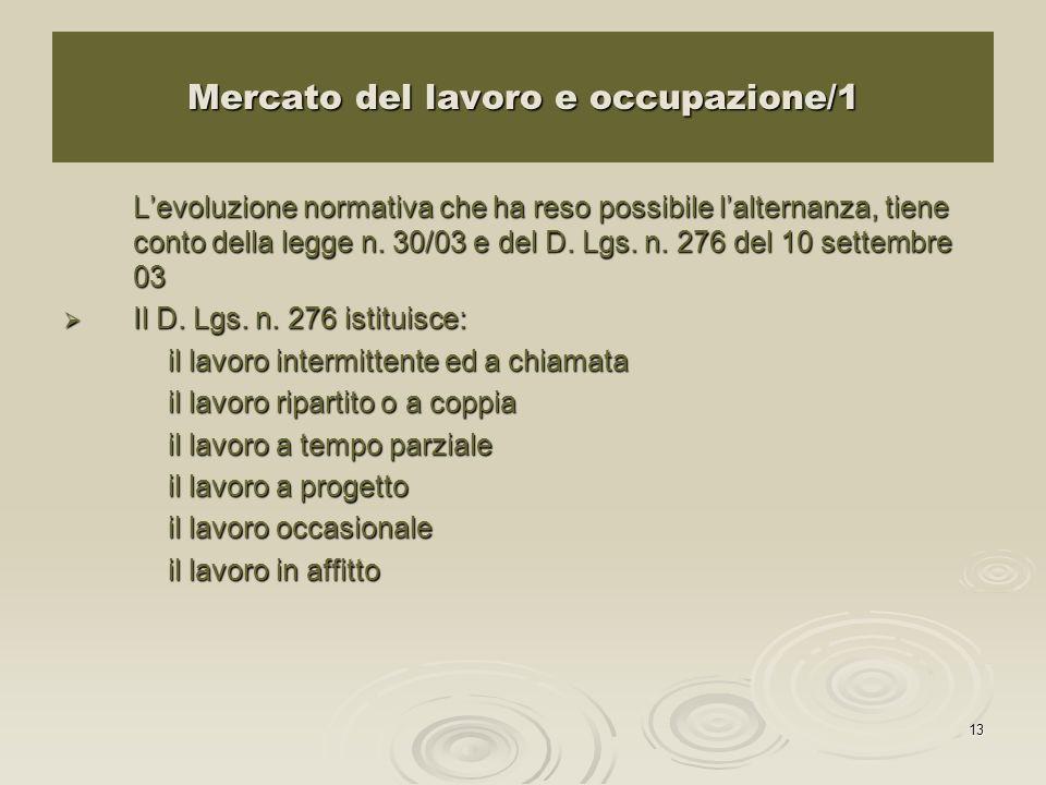 13 Mercato del lavoro e occupazione/1 Levoluzione normativa che ha reso possibile lalternanza, tiene conto della legge n.