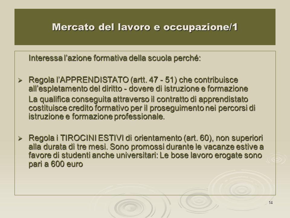 14 Mercato del lavoro e occupazione/1 Interessa lazione formativa della scuola perché: Regola lAPPRENDISTATO (artt. 47 - 51) che contribuisce allesple