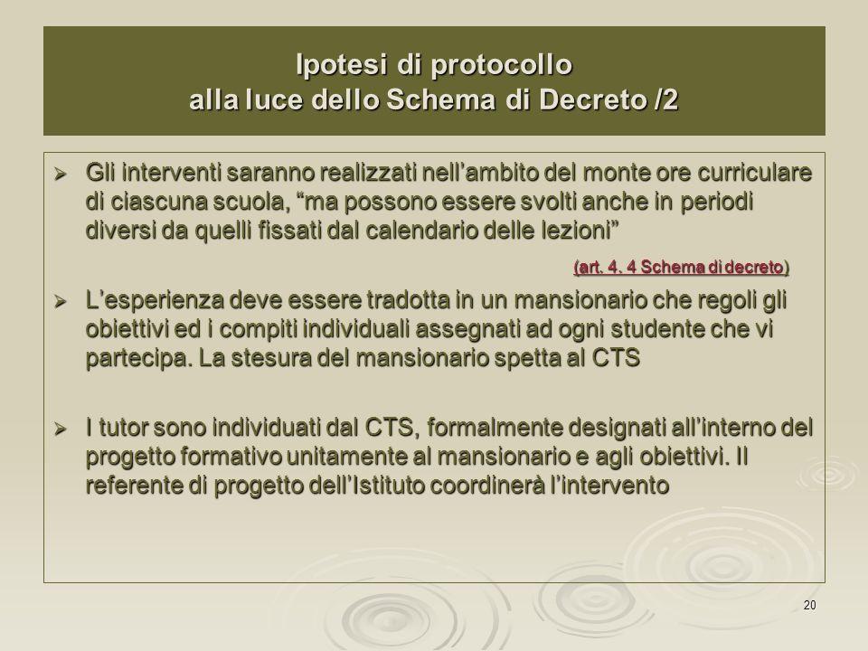20 Ipotesi di protocollo alla luce dello Schema di Decreto /2 Gli interventi saranno realizzati nellambito del monte ore curriculare di ciascuna scuol