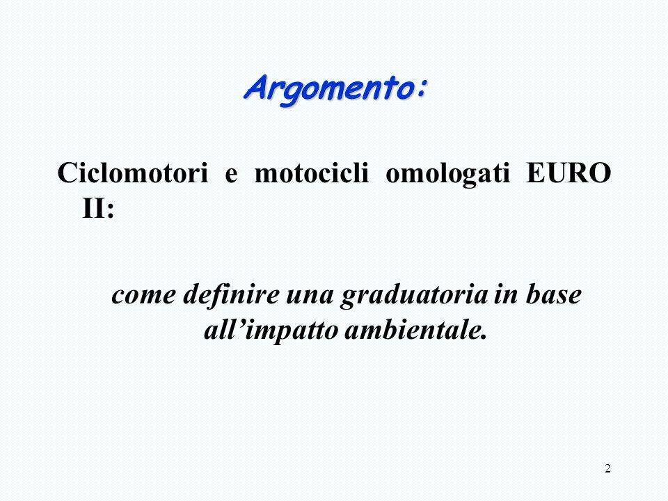 2 Argomento: Ciclomotori e motocicli omologati EURO II: come definire una graduatoria in base allimpatto ambientale.